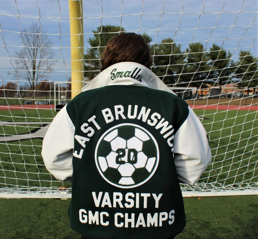 Smalley+shows+off+her+new+varsity+jacket+to+commemorate+her+time+on+the+EB+Girls%27+Soccer+team.+