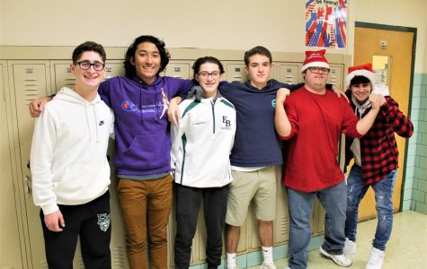 Some of the Mr. EBHS candidates pose for a picture during their act approval, following a rehearsal of their group dance.