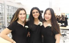 (left to right) Athena Goldstein, Ayman Khalil, and Tina Zheng after a bella voce concert.