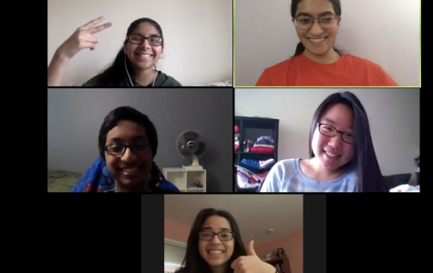 Clockwise from top left, seniors Shreya Sinkar, Sarah Adams, Jeha Kim, Priyal Garg, and Sagnik Chowdhury meet over Zoom to discuss their latest book club book, The Woman in the Window.
