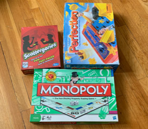 Seen here are Monopoly, Scattergories, and Perfection, a few exciting games to play with your family.