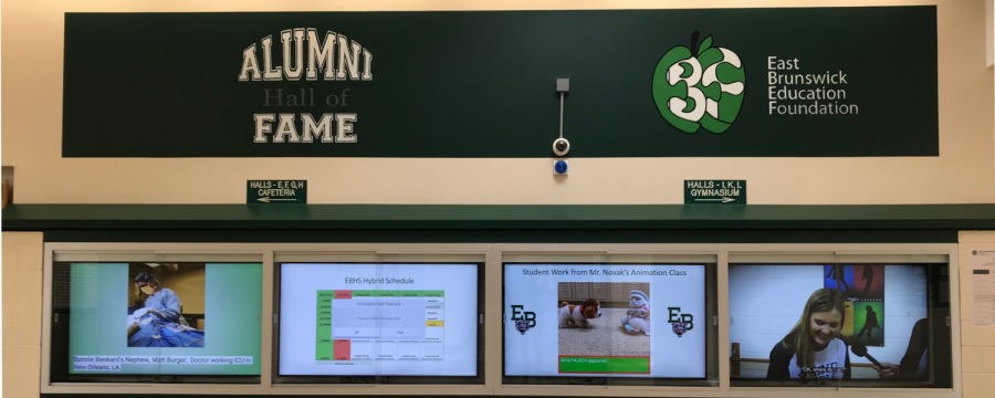 The+Alumni+Hall+of+Fame+and+its+interactive+TVs--located+in+the+terminal+around+the+media+center--are+a+new+addition+to+EBHS.