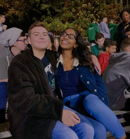 "Dinsuha Desilva, 12, pictured with Mathew Minikel, 12, says ""this senior year is one of a kind for sure. I"