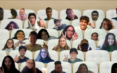 """Period 3 Humanities students pose in their virtual seats during class. A beaming Mrs. Deerson stated afterward: """"This made my entire week!"""""""