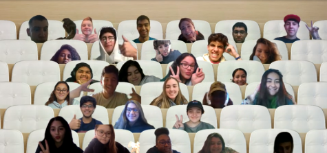 "Period 3 Humanities students pose in their virtual seats during class. A beaming Mrs. Deerson stated afterward: ""This made my entire week!"""