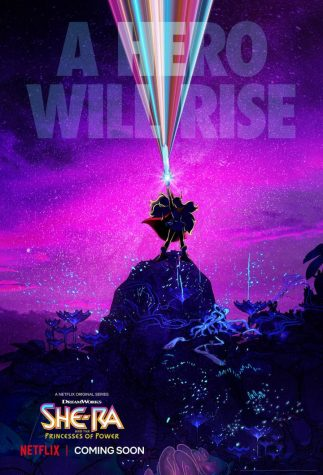 "A poster featuring a silhouette of She-Ra standing on a rock over a purple background. The words ""A Hero Will Rise"" are at the top of the image, while the show"