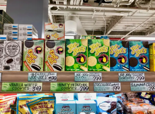 Trader Joe's uses bright colors and whimsical packaging to make its products more appealing. Fun names or highlighting unique ingredients makes products engaging and intriguing to customers. There is always something new with a funky name to try!