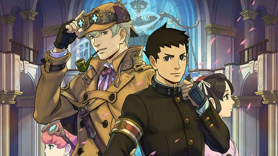 A picture of protagonist Ryunosuke Naruhodo and supporting character Herlock Sholmes from Capcoms Great Ace Attorney Chronicles.
