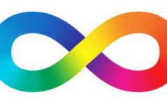 An infinity symbol colored with a rainbow gradient.