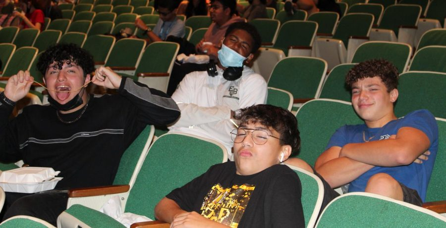 Sophomores Cristopher Sant'Anna, Jayon Vasquez, Leonardo Ruperto, and Abraham Algerin enjoy hanging out in the auditorium during lunch.