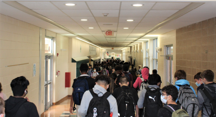 A photo of students walking in the main terminal