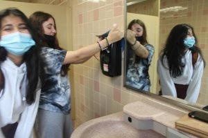 Kaitlyn Barsanti, 12, and Sonia Kurian, 12, strike a pose mocking the silly trend, specifically the popularity of the vandalism of soap dispensers.