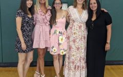 BFFFS! (Best Fitness Friends Forever) The ladies of the Phys Ed Department dazzle in their beautiful dresses at homecoming 2019. In order from left: Mrs. Shuster, Mrs. Mangino, Mrs. Rutz, Mrs. Tackas, and Mrs. Gnatt.